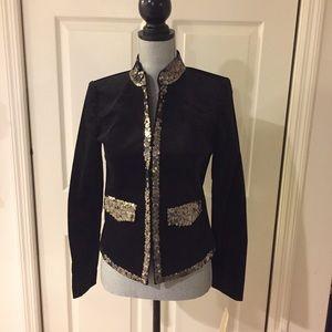 Michael Kors Black Velvet Jacket w/ Sequins ~ NWT